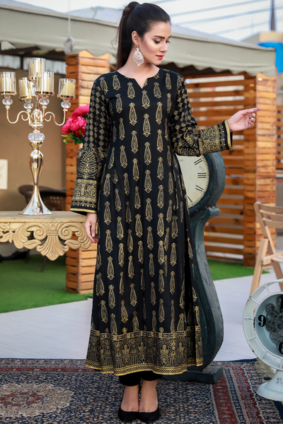 Black Royale Printed Maxi Kurta