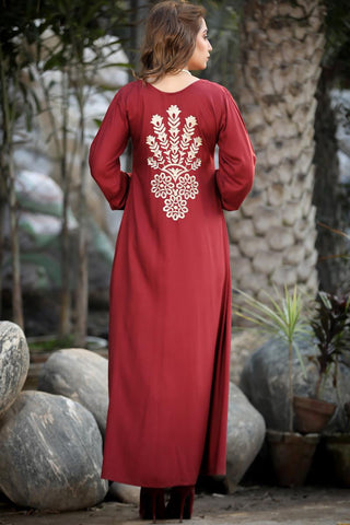 Maroon Mosaic Back Embroidered Maxi