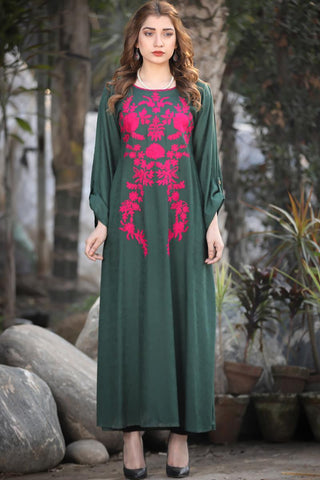 Self Embossed Green Pink Omera Maxi