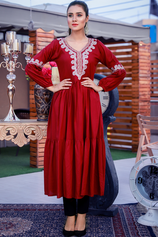 Maroon Kashmiri Embroidered Maxi