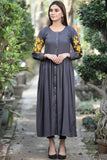 Grey Cherry Blossom Shirt Maxi with Embroidered Sleeves