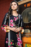 Black Floral Brocade Look Linen Kurta