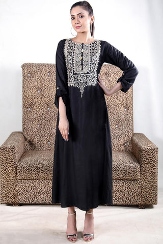 Embroidered Black Maxi with Golden Tassles