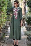 Bottle Green Embroidered Auriga Maxi
