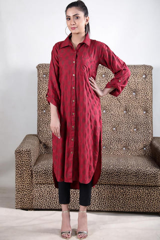 Maroon Self Printed Linen Shirt Kurta