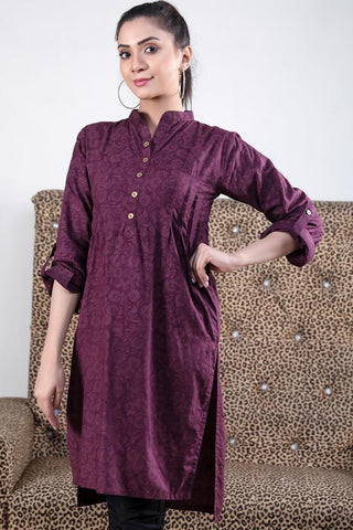 Printed Purple Pleated Linen Kurta