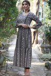 Tiered Black & Slate Grey Maxi
