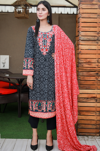 Three Piece: Black Chunri Print with Aari Embroidery, Scarf and Trouser