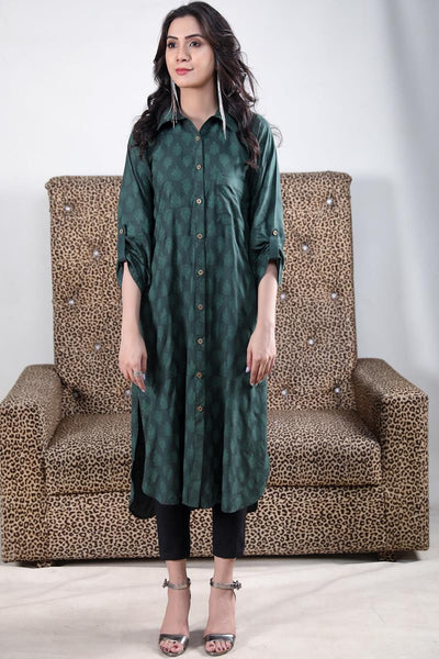 Green Self Printed Linen Shirt Kurta