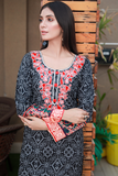 SALE Three Piece: Black Chunri Print with Aari Embroidery, Scarf and Trouser