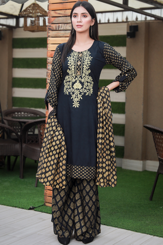 Three Piece: Black Gold Printed Tilla Embroidered with Palazzo Sharara