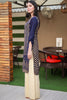 Three Piece: Navy-Beige Linen Three Piece with Cotton Gold Shawl