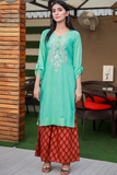 Three Piece: Green Maroon Gold Printed Tilla Embroidered with Palazzo Sharara