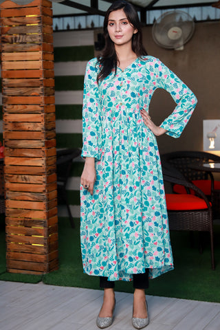 Green Floral Grip Linen Long Kurta