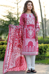 Two Piece: Pink Aari Embroidered Gulbahar Cotton Kurta with Lawn Scarf