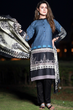 Two Piece: Blue Nightingale Single Pocket Cotton Kurta with Lawn Scarf