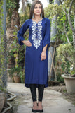 Navy Kurti with Beige Pasham Work- Equal Back Front Length