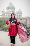 Two Piece: Pink Anguri Cotton Kurta with Lawn Scarf
