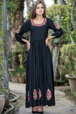 "Black Miser Aari Linen Kurta (Available in 52"" & 56"" length)"