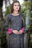 Navy Funk Kurta with Embroidered Sleeves