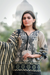 Two Piece: Beige Shirin Cotton Kurta with Lawn Scarf