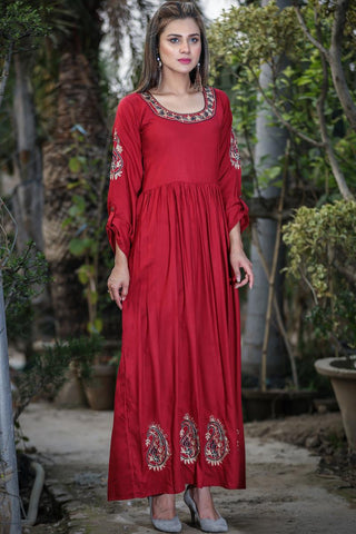 "SALE Maroon Miser Aari Linen Kurta (Available in 52"" & 56"" length)"