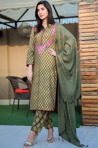 SALE Three Piece: Green Pink Necklace Linen Three Piece with Shawl