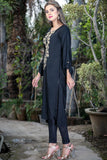 Black Kurti with Beige Pasham Work- Equal Back Front Length