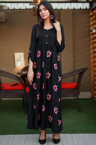 Black Floral Embroidered Maxi