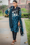 Two Piece: Blue Anguri Cotton Kurta with Lawn Scarf