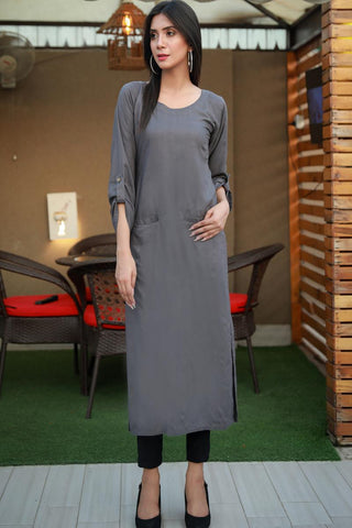 Double Pocket Grey Linen Kurta