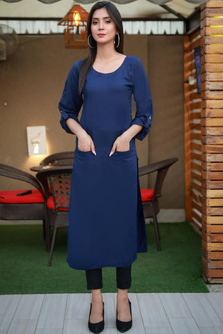 Double Pocket Navy Linen Kurta