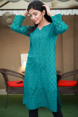 Double Tone Sea Green Printed Linen Kurta