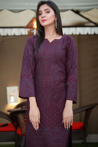 Double Tone Purple Printed Linen Kurta