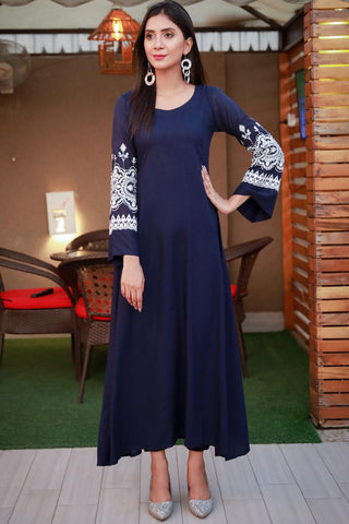 Navy Linen Maxi Kurta with Embroidered Sleeves
