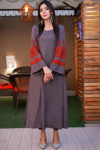 Grey Linen Maxi Kurta with Embroidered Sleeves