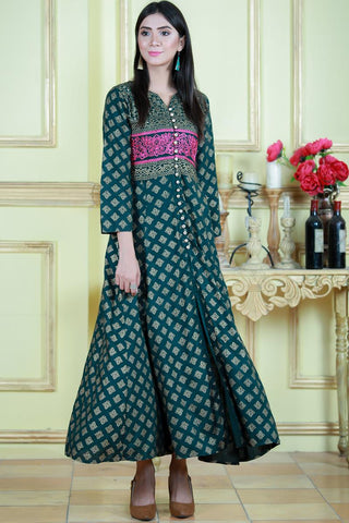 Bottle Green Shalimar Embroidered Maxi