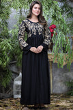 "Black Luxor Tilla Aari Embroidered Kurta (Available in length 52"" and 56"")"