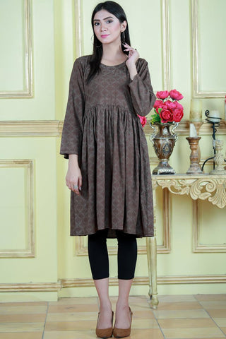 SALE Brown Leaf Dress