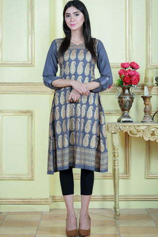 Grey Gold Print Kurta