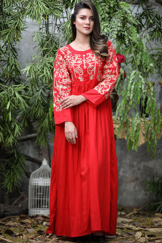 "Red Luxor Tilla Aari Embroidered Kurta (Available in length 52"" and 56"")"