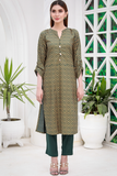 Bottle Green Lyallpur Linen Kurta with Tassles