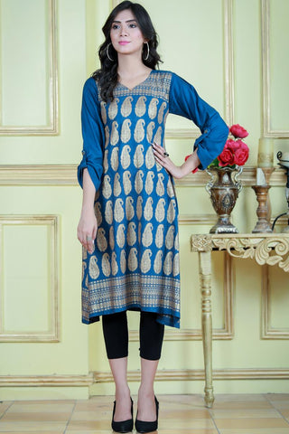 SALE Teal Gold Print Kurta