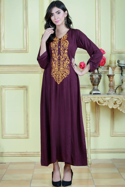 Purple Linen Maxi with Mustard Embroidery