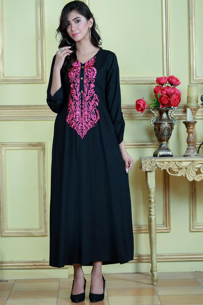 Black Linen Maxi with Pink Embroidery