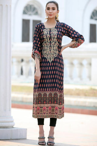 Black Shalimar Embroidered Linen Kurta