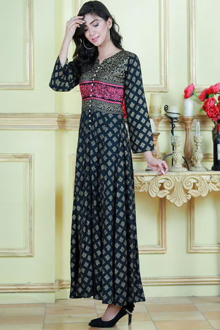 Black Shalimar Embroidered Maxi