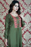 Military Green Embroidered Fez Maxi