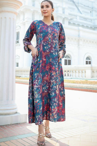Night Flower Printed Linen Maxi