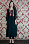 Black Embroidered Fez Maxi